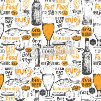 Fototapete Nahtlose Hintergrund mit Bier-Set. Pub-Menü. Flasche und Glas Bier in Skizze-Stil. Vektor-Illustration mit Bier-Etiketten.
