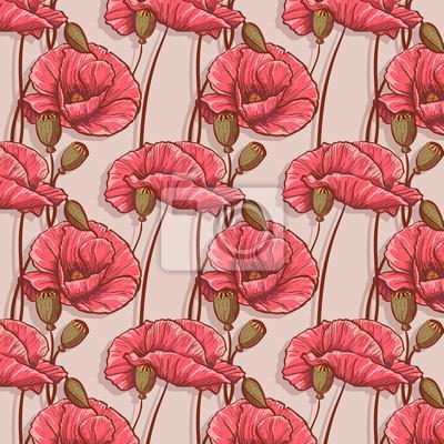 nahtlose Hintergrund mit Blumen Mohnblumen