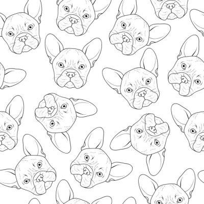 Fototapete Nahtlose Hintergrund mit cute Bulldog Sketch. Realistischer Hund handgefertigt. Färbung monochrom mit bulldogge. Druck zum Bedrucken von Textilien. Hunderassen. Nahtlose Hintergrund mit Hund für gedru
