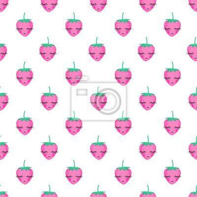 Fototapete Nahtlose Hintergrund mit kleinen Erdbeeren. Nettes vektor-erdbeermuster. Sommer Frucht Abbildung auf weißem Hintergrund. Süße Baby-Dusche Vektor-Hintergrund. Netter Entwurf für Druck auf Babys Kleidun