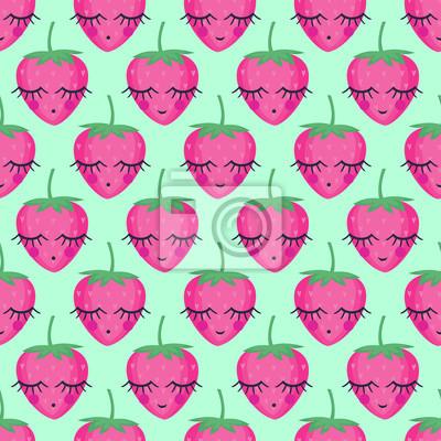 Fototapete Nahtlose Hintergrund mit lächelnden schlafenden Erdbeeren. Nettes vektor-erdbeermuster. Sommerfruchtabbildung auf tadellosem grünem Hintergrund. Cute helle Baby-Dusche Vektor-Hintergrund.