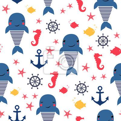 Fototapete Nahtlose Meer Muster: Wal, Fisch, Anker, Seepferdchen. Netter nautischer Hintergrund. Marineleben Hintergrund. Design für Stoff Textil Dekor
