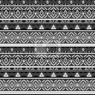 Ethno Muster nahtlose monochrome folk ethno muster fototapete • fototapeten ethno