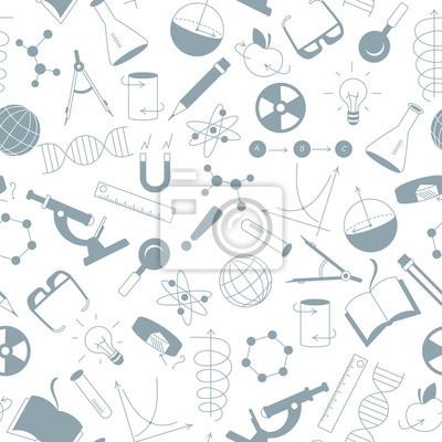 Nahtlose muster auf das thema der wissenschaft und erfindungen ...