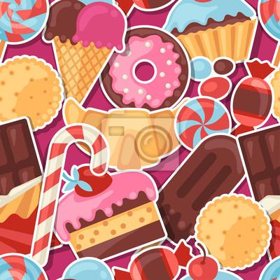 fototapete nahtlose muster bunte aufkleber sigkeiten bonbons und kuchen - Kuchen Muster