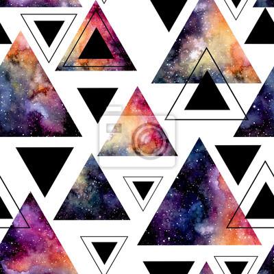 fototapete nahtlose muster der aquarell dreiecke und galaxy - Galaxy Muster