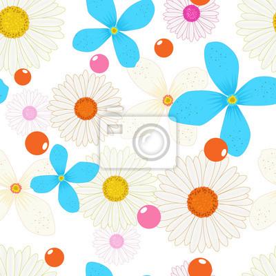 Nahtlose muster hintergrund der blumen. kamillen, blaue blüten ...