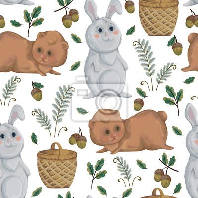 Nahtlose muster mit bären, kaninchen, korb, farn und eichel ...