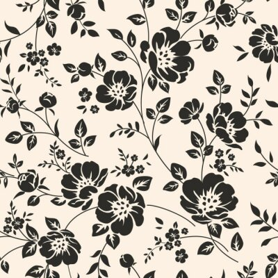 Fototapete Nahtlose Muster mit Blumen.