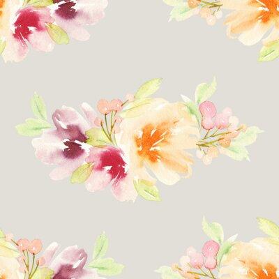 Fototapete Nahtlose Muster mit Blumen Aquarell. Sanfte Farben.