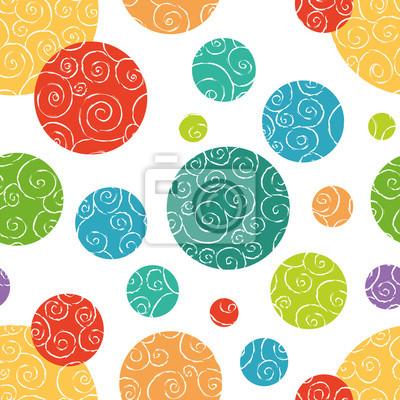 Nahtlose Muster mit bunten doodled Kreise.