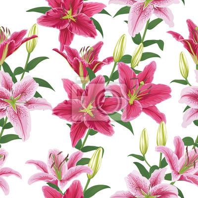 Nahtlose Muster Mit Bunten Lilien Blume Auf Weissem Hintergrund