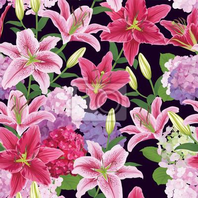 Nahtlose Muster Mit Bunten Lilien Blume Und Hortensie Auf Dunklem