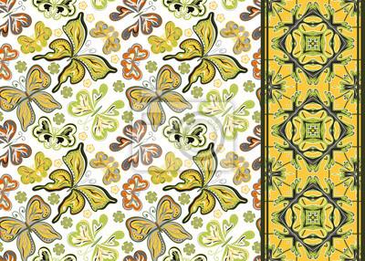 Nahtlose Muster Mit Bunten Vintage Schmetterlinge Und Blumen