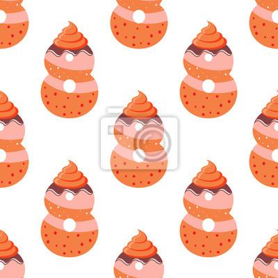 Nahtlose Muster mit Cartoon-Cookies von Nummer acht