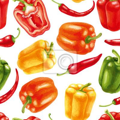 Nahtlose Muster mit Chili und Paprika
