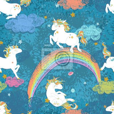 Fototapete Nahtlose Muster Mit Cute Baby Unicorns Bunte Nachthimmel Regenbogen Sternen Wolken