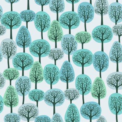Fototapete nahtlose Muster mit einem Winterwald
