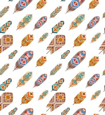 Fototapete Nahtlose Muster mit ethnischen Federn