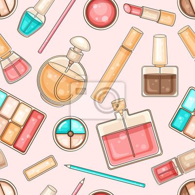 Nahtlose Muster mit Frau machen Werkzeuge und Kosmetik
