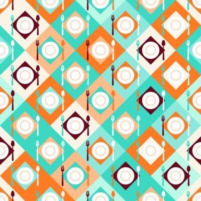 Fototapete Nahtlose Muster mit Gabeln, Löffel und Teller im Retro-Stil.
