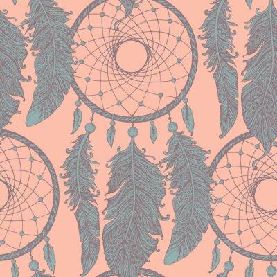 Fototapete Nahtlose Muster mit Hand gezeichneten Traumfänger