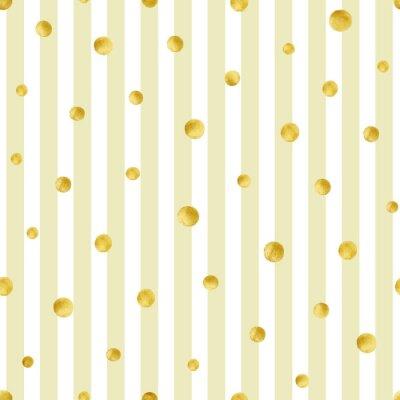 Fototapete Nahtlose Muster mit handbemalten Gold Kreise. Gold Tupfenmuster