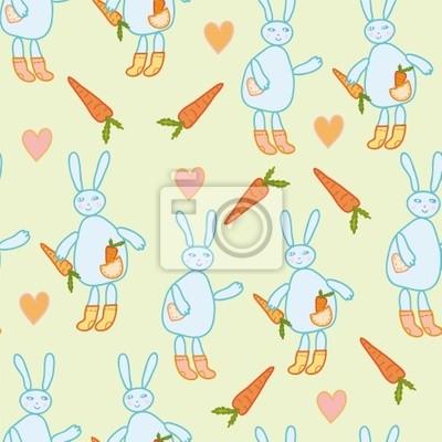 Nahtlose Muster mit Kaninchen und Karotten