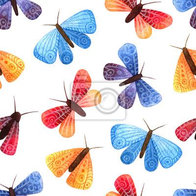 Nahtlose Muster mit kleinen Schmetterlingen und Motten