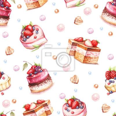 Nahtlose muster mit zeichnen aquarell illustration fototapete fototapeten - Kuchenspiegel mit fototapete ...