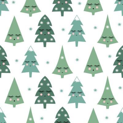 Fototapete Nahtlose Muster mit lächelnd schlafenden Weihnachtsbäumen und Schneeflocken. Happy New Year Hintergrund. Netter Vektorentwurf für Winterferien auf weißem Hintergrund. Kind Zeichnung Stil Winter Bäume.