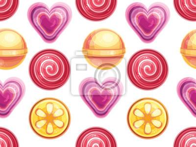 Nahtlose Muster mit Lutscher und Bonbons