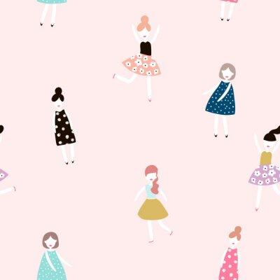 Fototapete Nahtlose Muster mit Mode Mädchen. Moderne Stil flache Vektor Hintergrund.