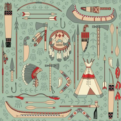 Fototapete nahtlose Muster mit Native American Attribute