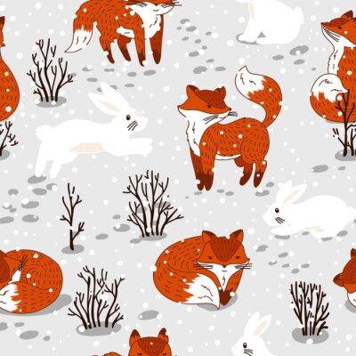 Fototapete Nahtlose Muster mit niedlichen Füchse und Hase. Winter-Abbildung