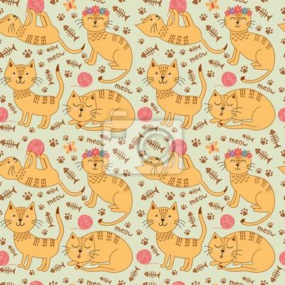 Nahtlose Muster mit niedlichen Ingwer Katzen in kindischen Stil. Kinder Hintergrund. Abbildung