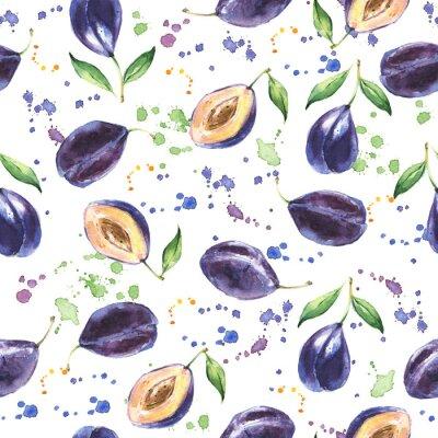 Fototapete Nahtlose Muster mit Pflaume, Hand gezeichnet Obst Hintergrund, Aquarell