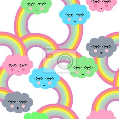Fototapete Nahtlose Muster mit schlafenden Lächeln Wolken und Regenbogen für Kinder Ferien, Textilien, Interior Design, Buchgestaltung, Websites. Cute Baby Dusche Vektor Hintergrund. Kind Zeichenstil.