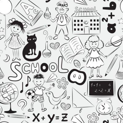 Fototapete Nahtlose Muster mit Schule Thema