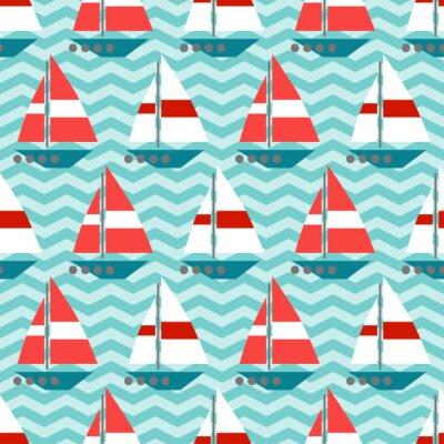 Fototapete Nahtlose Muster mit Segelboote auf den Wellen