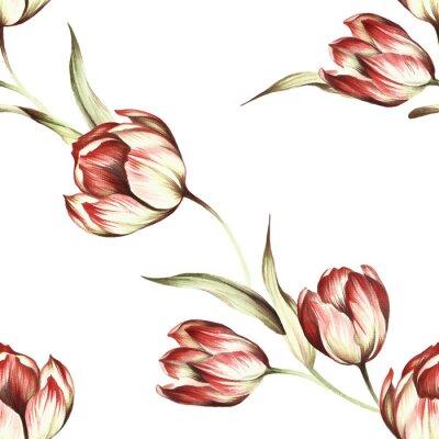 Fototapete Nahtlose Muster mit Tulpen. Hand zeichnen Aquarellabbildung