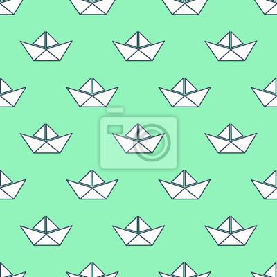 Fototapete Nahtlose Muster mit weißen Papier Boote. Abbildung. Origami Schiff nahtlose Hintergrund.