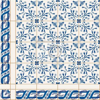 Nahtlose Muster Türkisch Marokkanisch Portugiesisch Azulejo - Fliesen auf türkisch