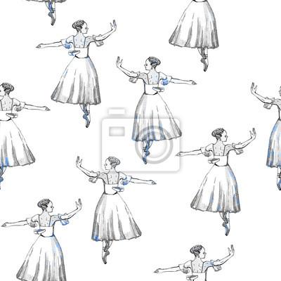 16937ca5bcde64 Fototapete Nahtlose Muster von Ballett-Tänzer, Schwarz-Silber-Zeichnung,  Aquarell-