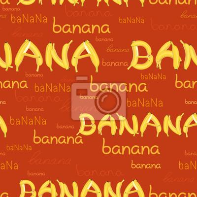 nahtlose Muster von Bananen und Buchstaben