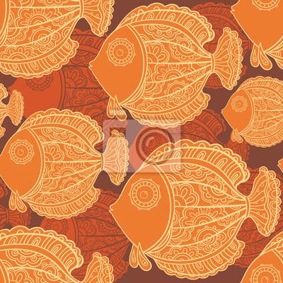 nahtlose Muster von vielen schönen dekorativen Fische