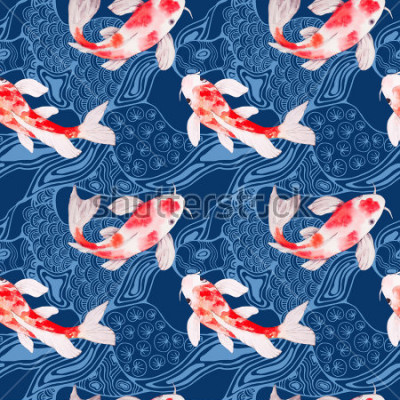 Fototapete Nahtlose Musterbeschaffenheit Aquarell koi Fische mit Wellen auf Hintergrund