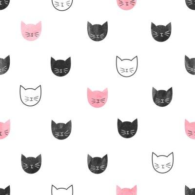 Fototapete Nahtlose niedlichen Katzen Muster. Vektor-Hintergrund mit Aquarell Katze Köpfe