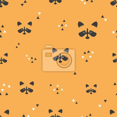 a738b2d835f7b8 Fototapete Nahtlose orange Muster mit Waschbären Gesichter und Dreiecke.  Vektor Hintergrund.