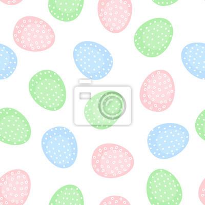 Fototapete Nahtlose Ostereier Muster. Nette Vektor-Hintergrund mit bunten Ostereiern. Ostern Illustration auf weißem Hintergrund.